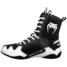 Venum Elite Boxing Shoes, Black-White